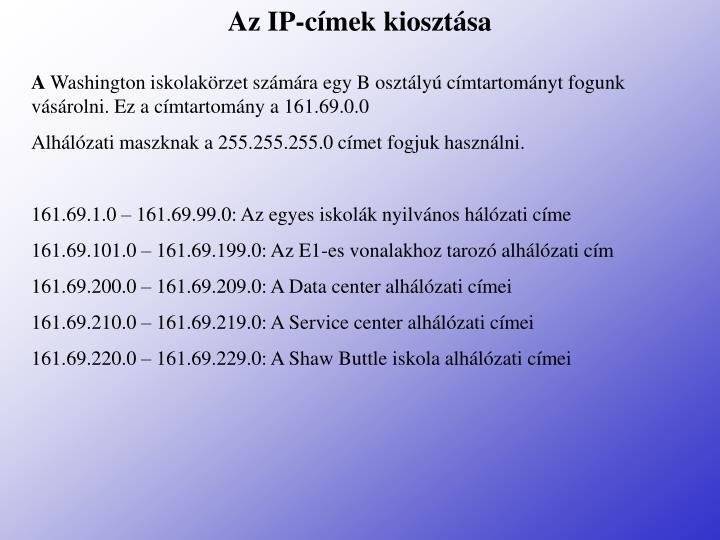Az IP-címek kiosztása