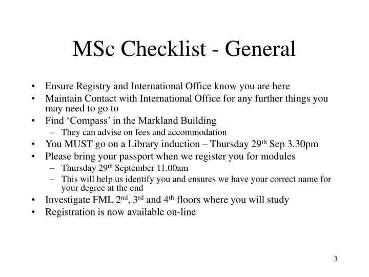 MSc Checklist - General