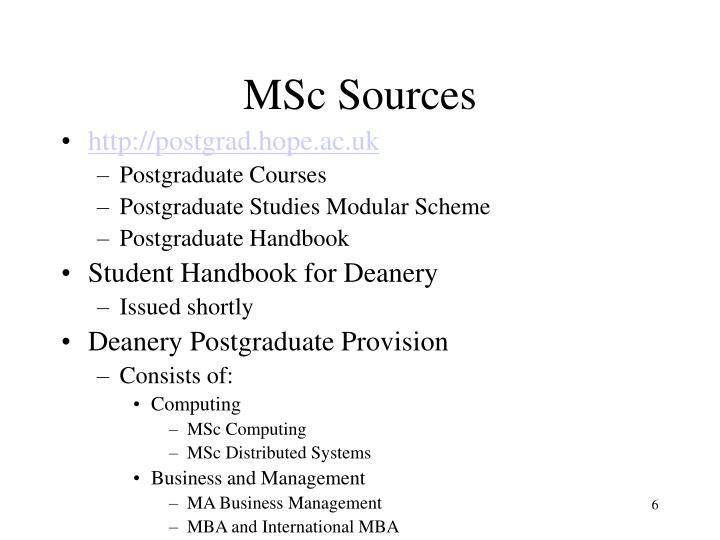 MSc Sources