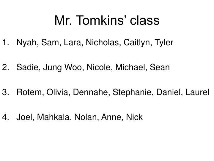 Mr. Tomkins' class
