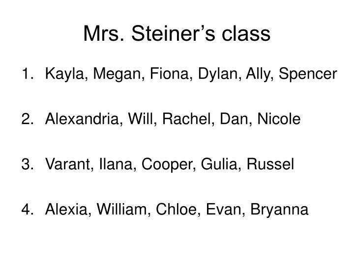 Mrs. Steiner's class