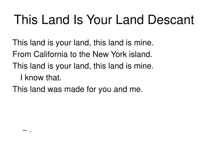 This Land Is Your Land Descant