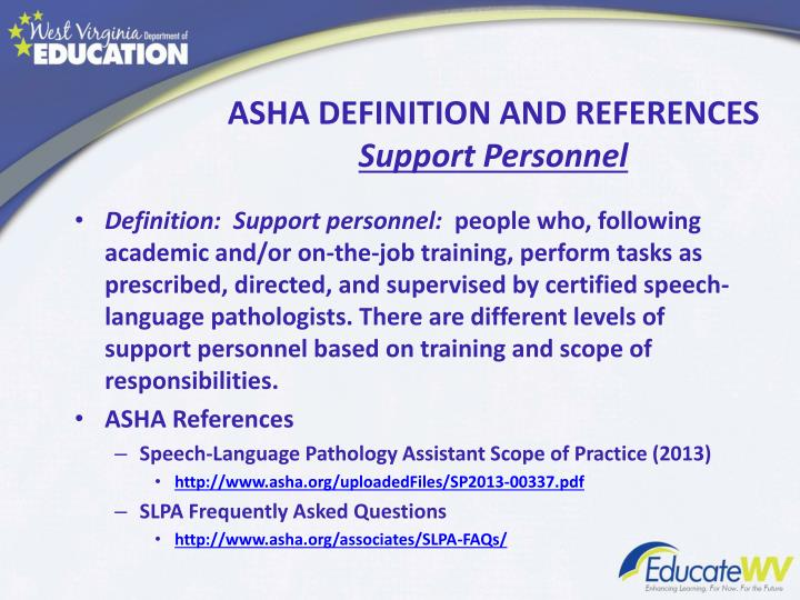 ASHA DEFINITION AND REFERENCES