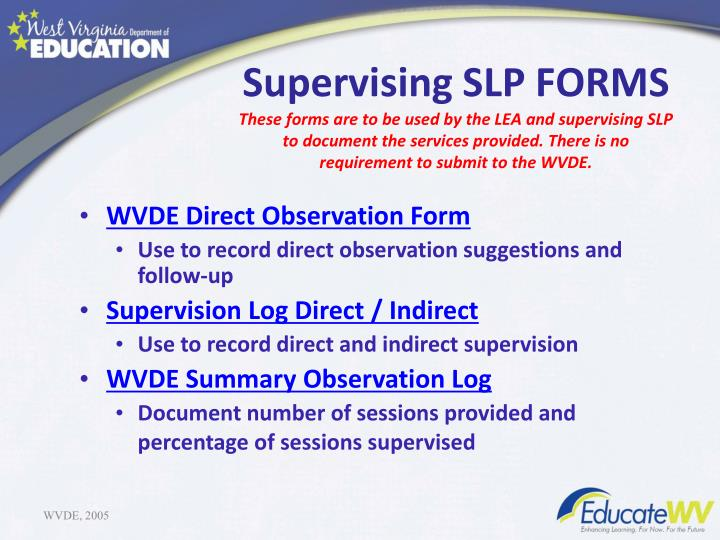 Supervising SLP FORMS