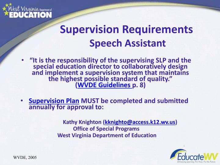 Supervision Requirements
