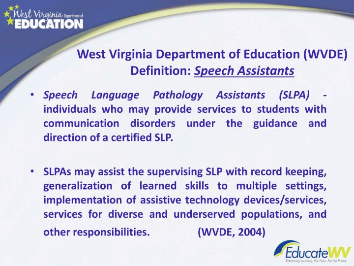 West virginia department of education wvde definition speech assistants