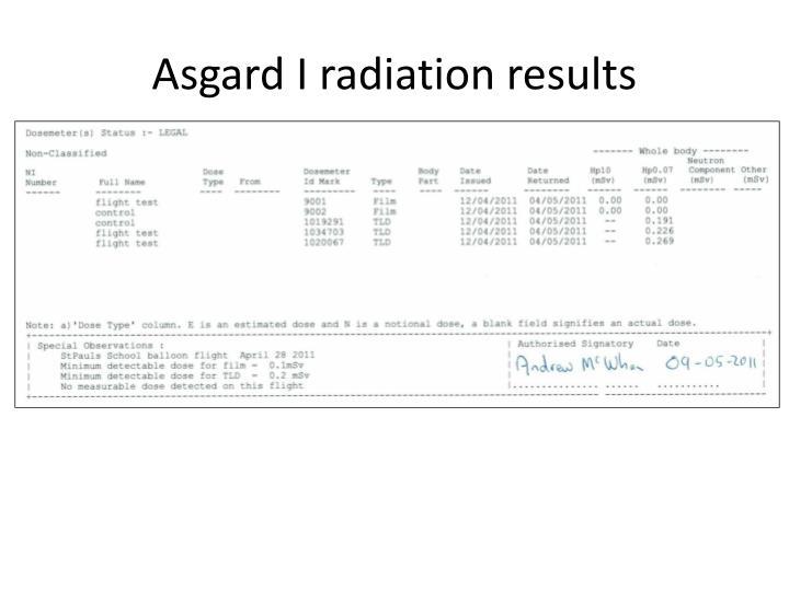 Asgard I radiation results