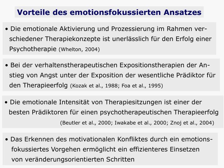 Vorteile des emotionsfokussierten Ansatzes