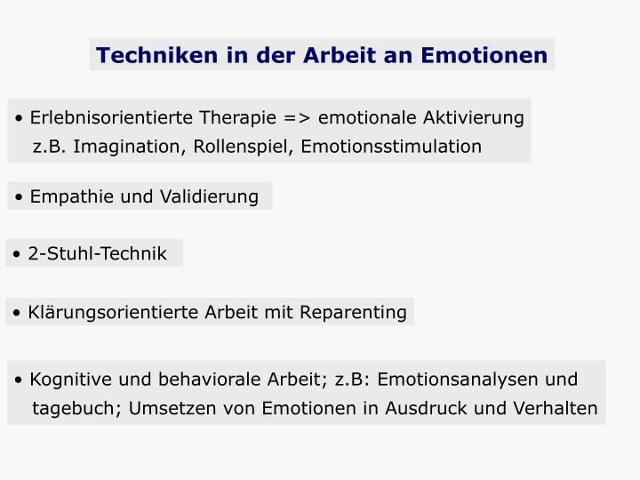 Techniken in der Arbeit an Emotionen