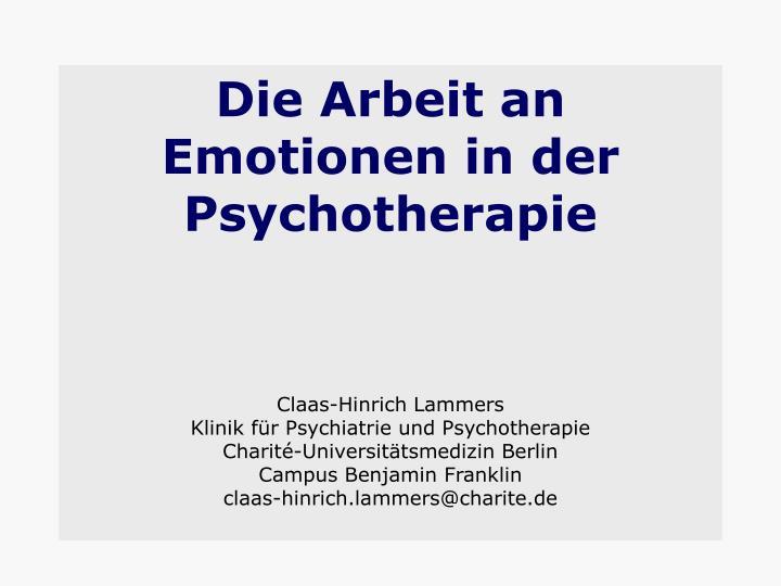 Die Arbeit an Emotionen in der Psychotherapie