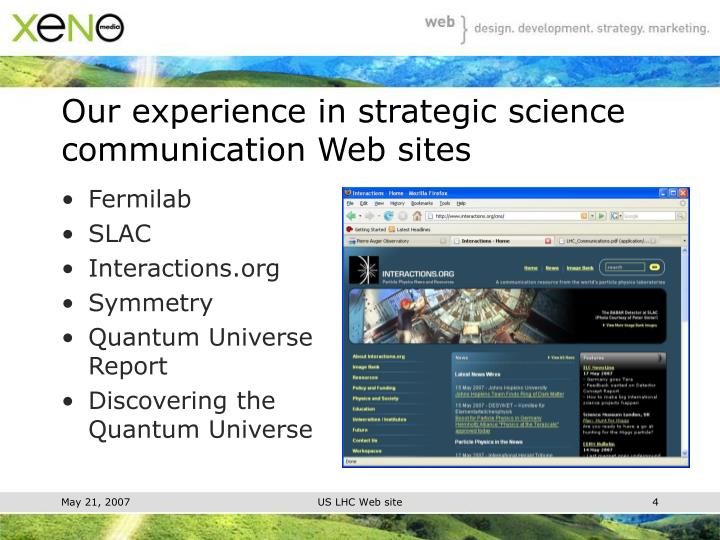 Our experience in strategic science communication Web sites