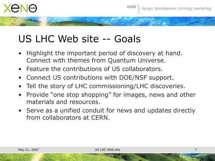US LHC Web site -- Goals