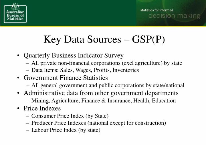 Key Data Sources – GSP(P)