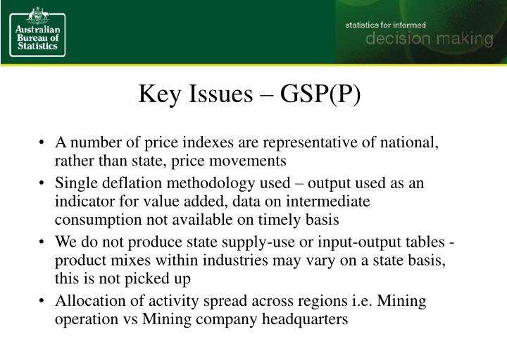 Key Issues – GSP(P)