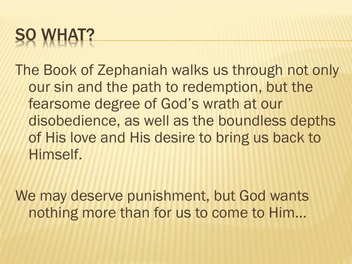 The Book of Zephaniah walks us through not only our sin and the path to redemption, but the fearsome degree of God's wrath at our disobedience, as well as the boundless depths of His love and His desire to bring us back to Himself.