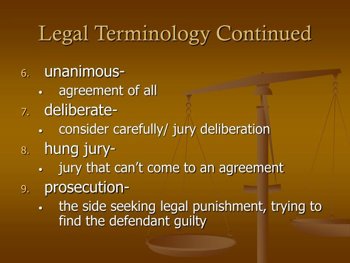 Legal Terminology Continued