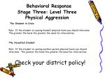 behavioral response stage three level three physical aggression3