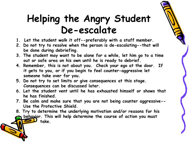 Helping the Angry Student De-escalate