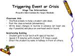 triggering event or crisis stage two interventions proactive interventions for angry students2