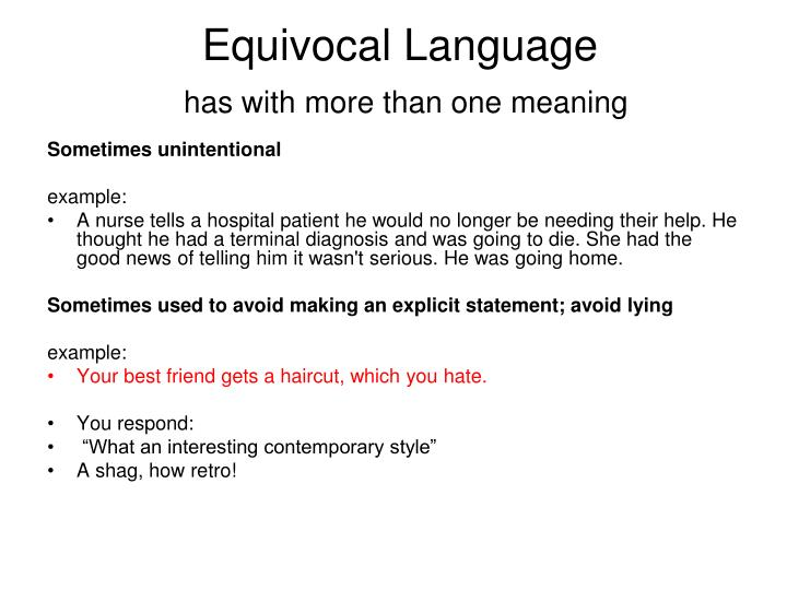 Equivocal Language