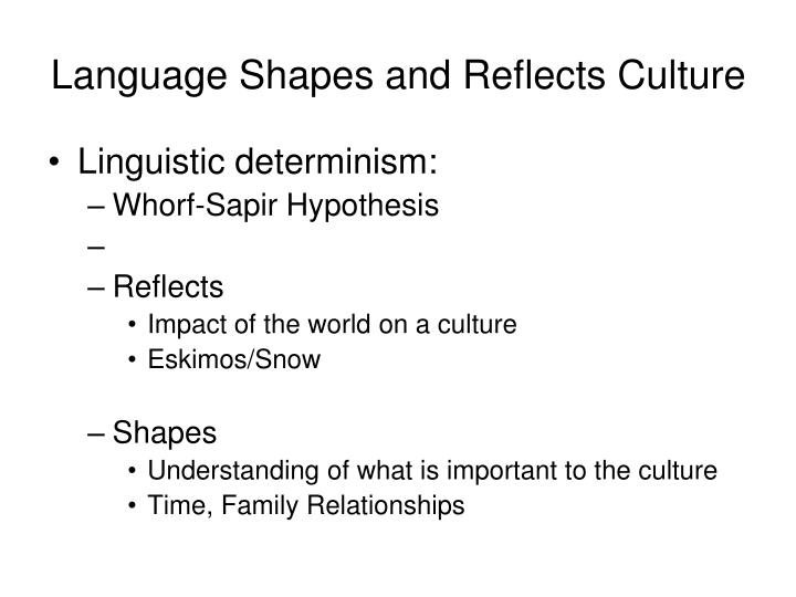 Language Shapes and Reflects Culture