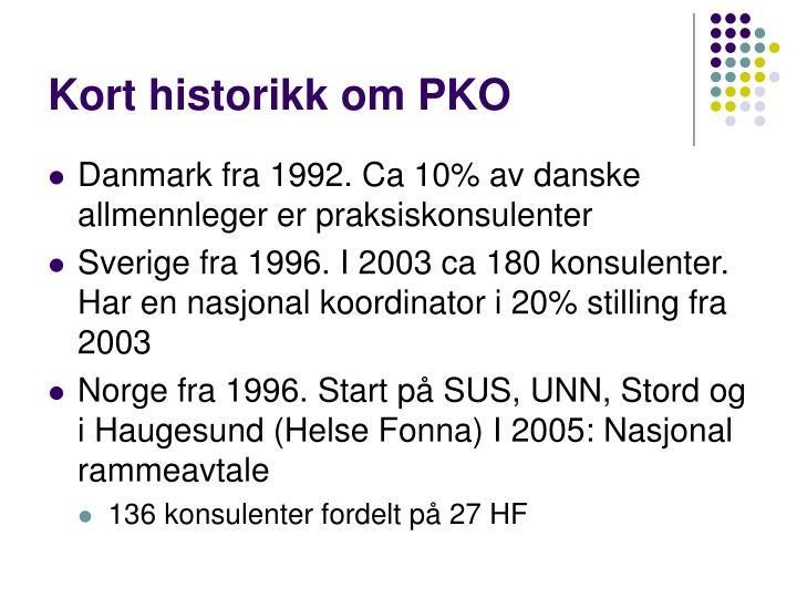 Kort historikk om PKO