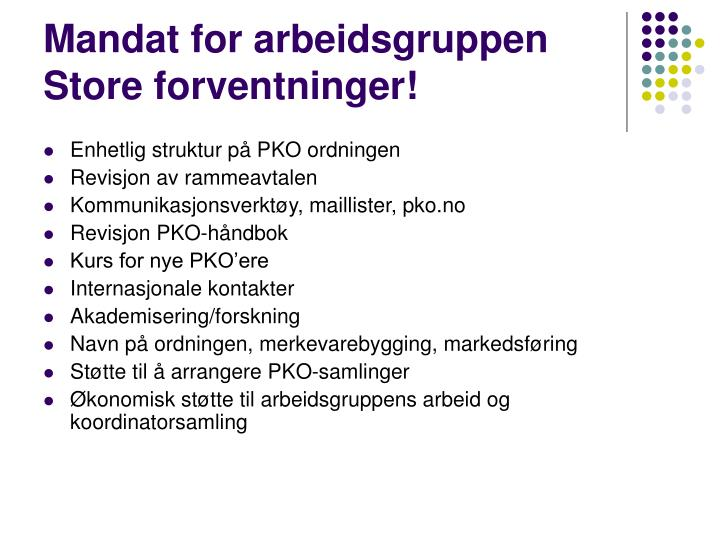 Mandat for arbeidsgruppen