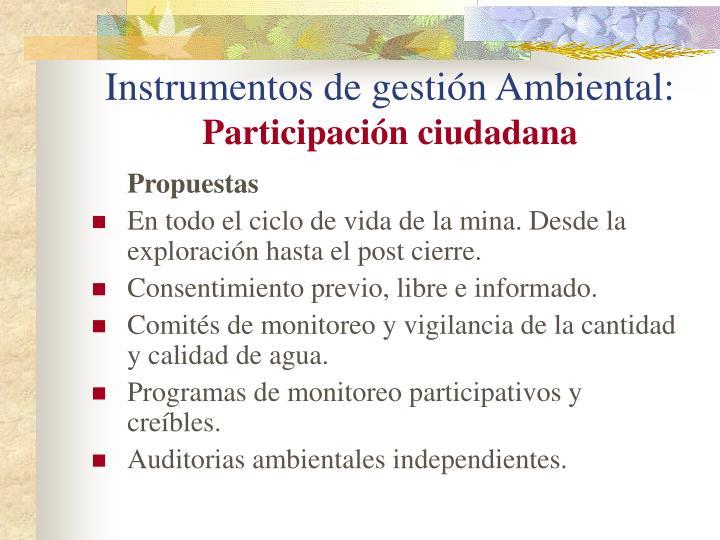 Instrumentos de gestión Ambiental: