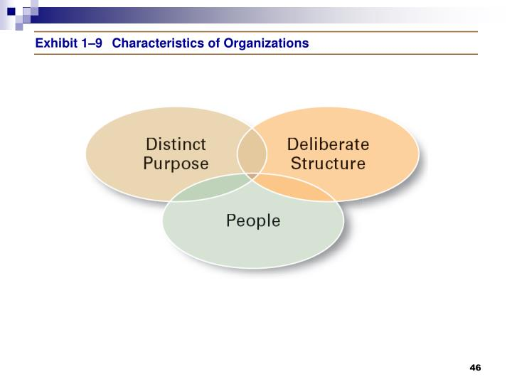 Exhibit 1–9Characteristics of Organizations