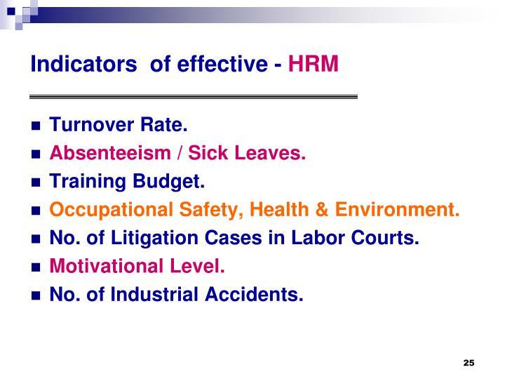 Indicators  of effective -