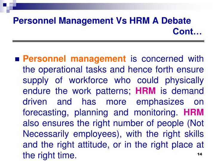 Personnel Management Vs HRM A Debate