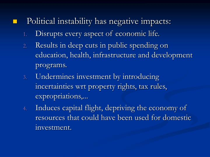 Political instability has negative impacts: