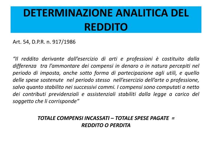 DETERMINAZIONE ANALITICA DEL REDDITO