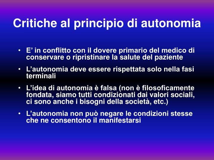 Critiche al principio di autonomia