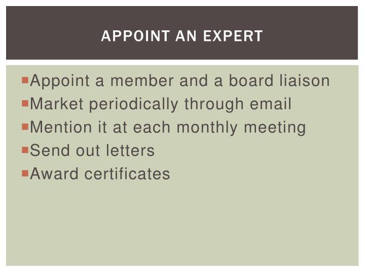 Appoint an Expert