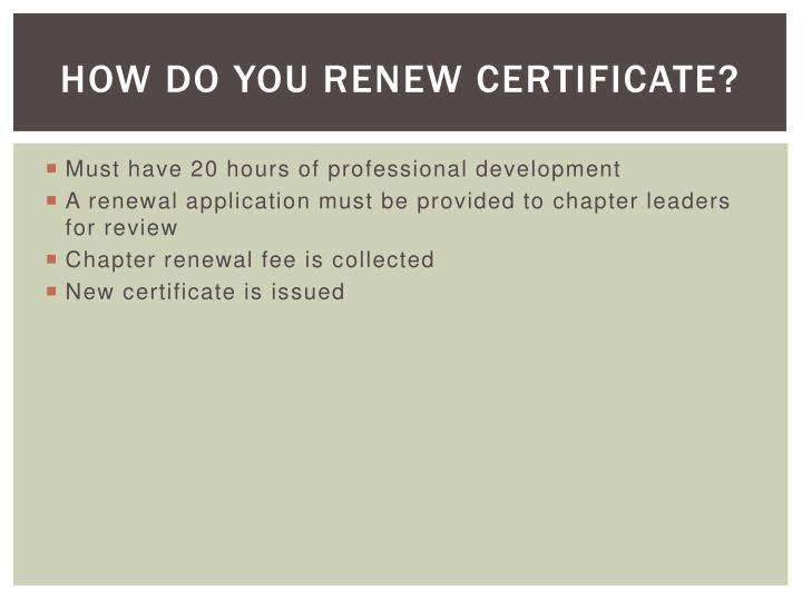 How Do You Renew Certificate?