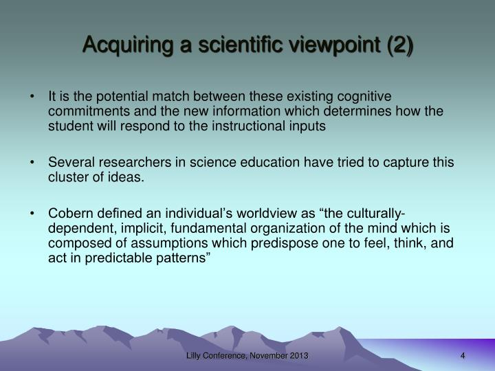 Acquiring a scientific viewpoint (2)