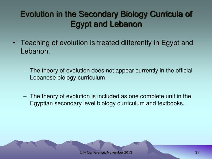 Evolution in the Secondary Biology Curricula of Egypt and Lebanon