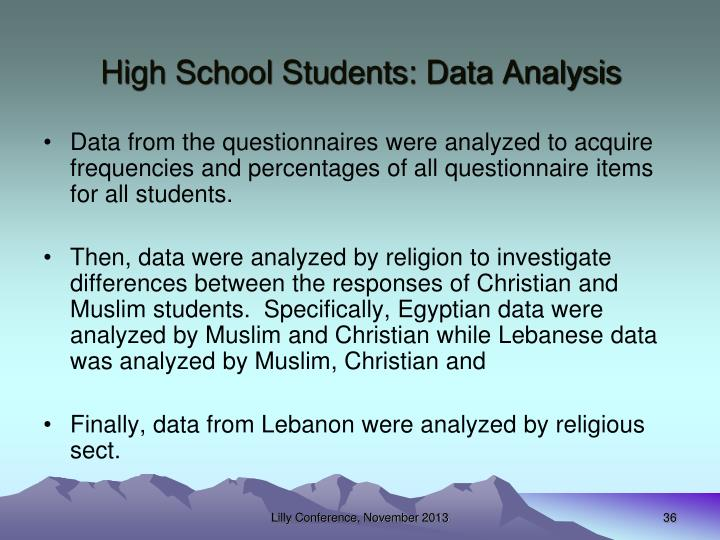 High School Students: Data Analysis