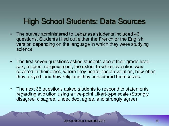 High School Students: Data Sources