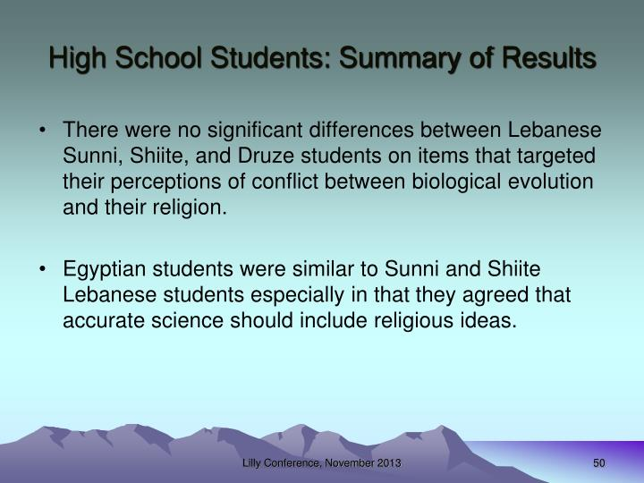 High School Students: Summary of Results