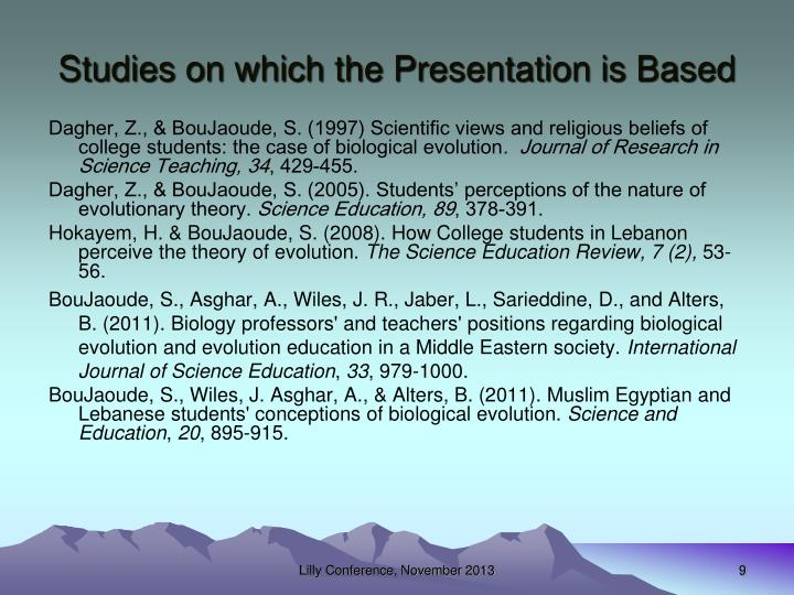Studies on which the Presentation is Based