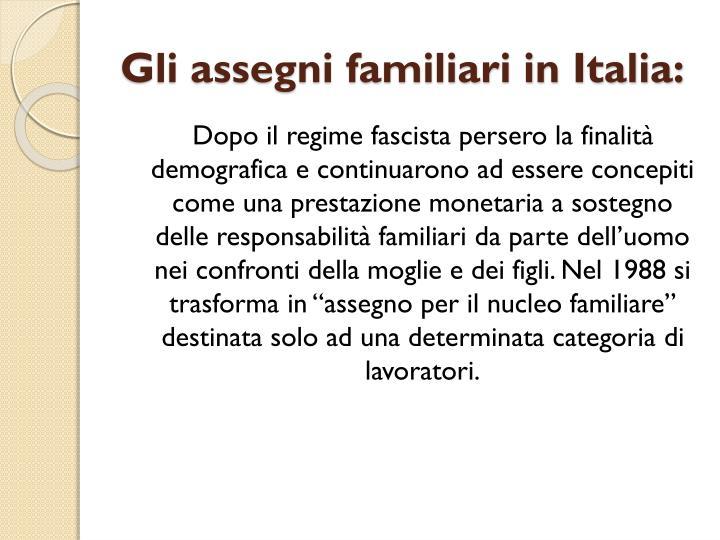 Gli assegni familiari in Italia: