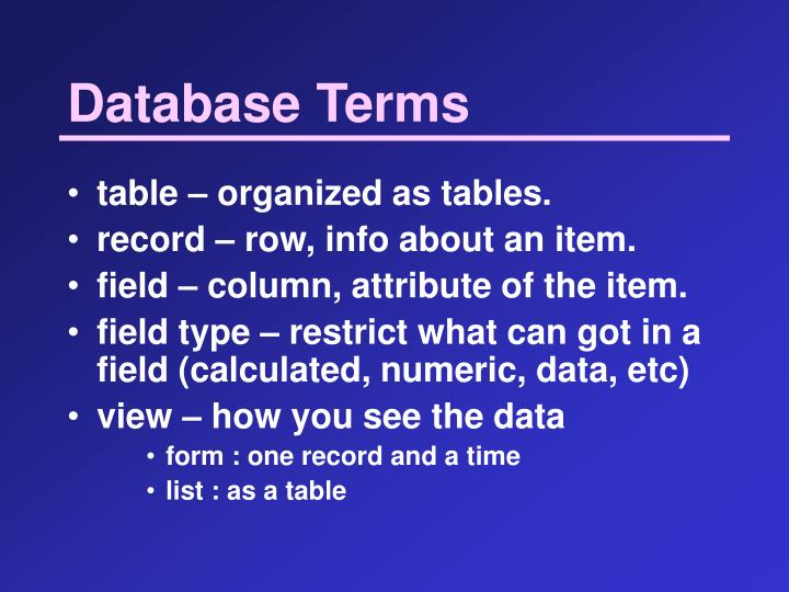 Database Terms