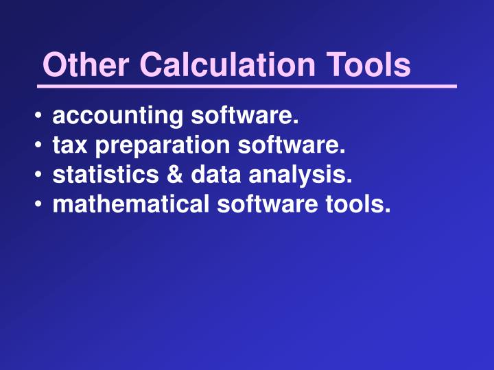 Other Calculation Tools