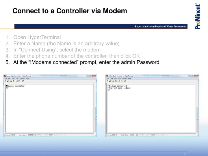 Connect to a Controller via Modem