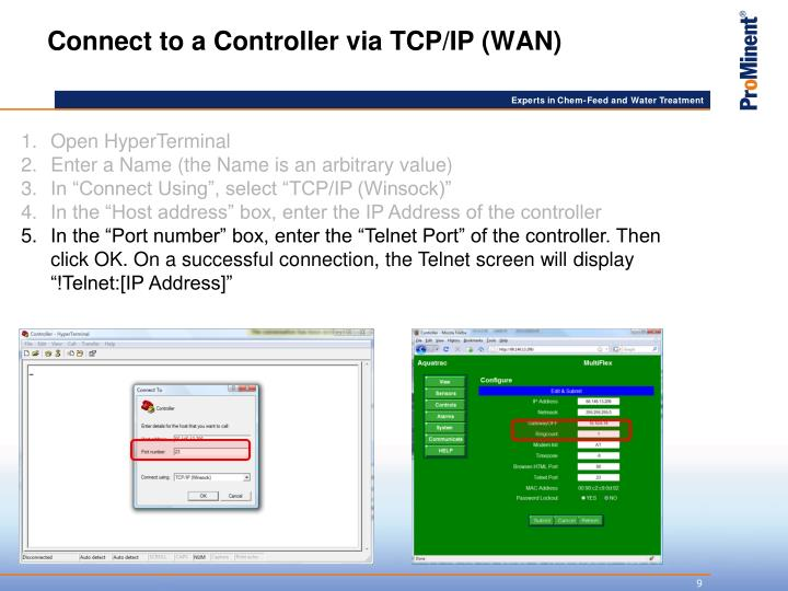 Connect to a Controller via TCP/IP (WAN)