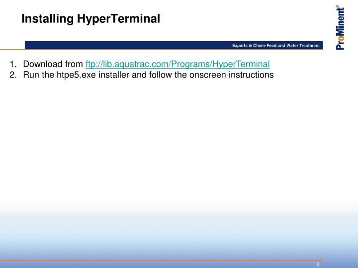 Installing HyperTerminal