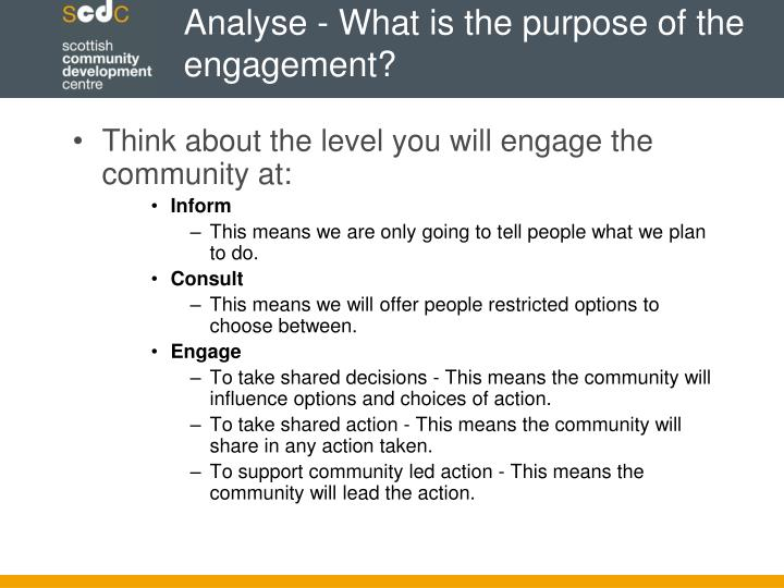 Analyse - What is the purpose of the engagement?
