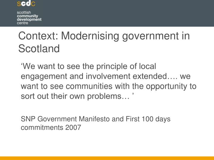Context: Modernising government in Scotland